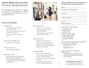 North Shore Arts Alliance Patron Membership Brochure, side 1