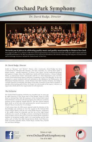 Orchard Park Symphony Orchestra season poster, 2014, back