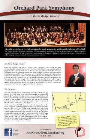 Orchard Park Symphony Orchestra season poster, 2013, back