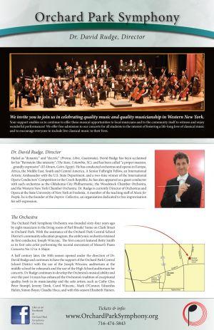 Orchard Park Symphony Orchestra season poster, 2012, back