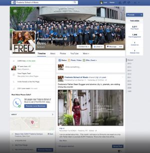 Social Media Management, Fredonia School of Music Facebook @fredoniamusic