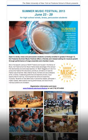 Fredonia Summer Music Festival, email campaign